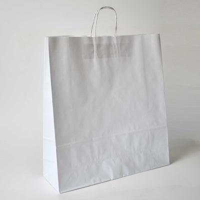 White Twist Handle Paper Carrier Bag - Extra Large - Plain - Print on Paper Bags