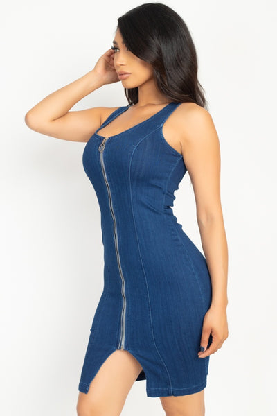 Sleeveless V Neck Double Zipper Dress