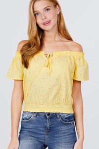 Short Sleeve Off The Shoulder Front Tie Detail Smocked Hem Eyelet Lace Woven Top