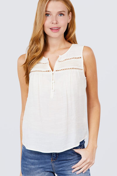 Sleeveless Front Pleats Detail W/button Woven Top