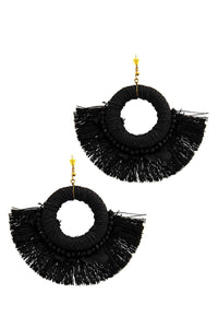 Stylish Feather And Fan Tassel Earring