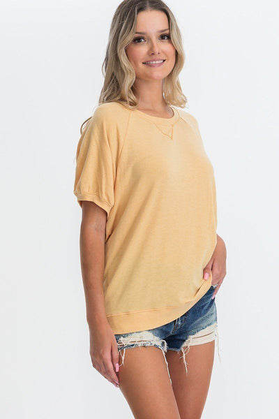 Ribbed Knit Short Sleeve Top