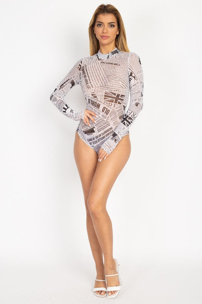 Newspaper Graphic Mesh Bodysuit