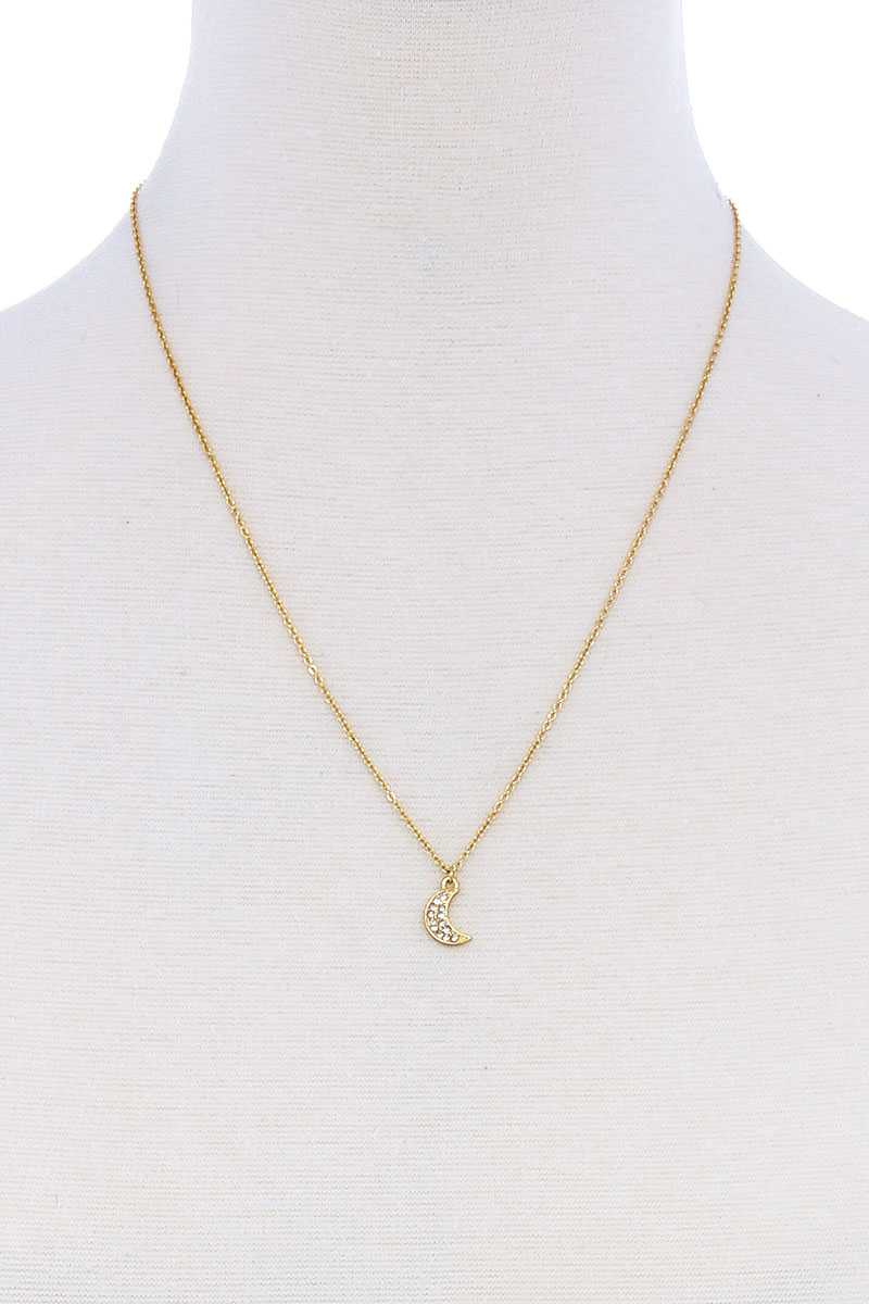 Cute Trendy Crescent Moon Rhinestone Necklace