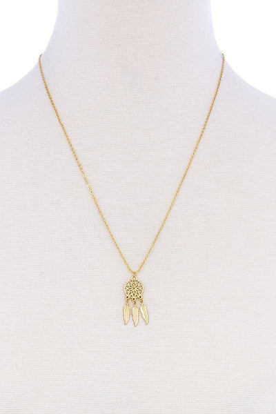 Cute Brass Dream Catcher Pendant Necklace