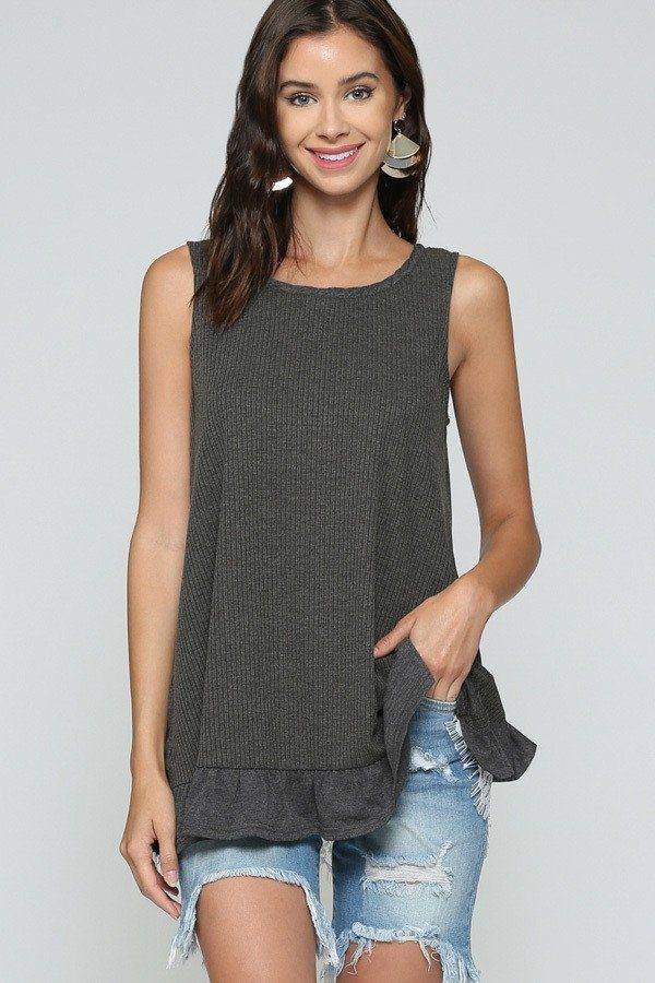 Sleeveless Back Lace Ruffle Detail Tank Top