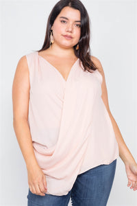 Plus Size Sheer Blush Surplus V-neck Chic Sleeveless Blouse