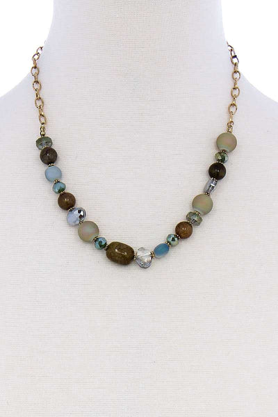 Multi Bead Stone Chic Necklace