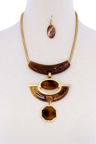 Stylish Acetate Organic Shape Chunky Necklace And Earring Set