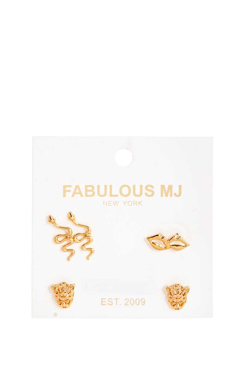 Chic Fabulous 3 Pairs Stud Earring Set
