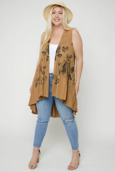 Floral Sublimation Print  Sleeveless Cardigan