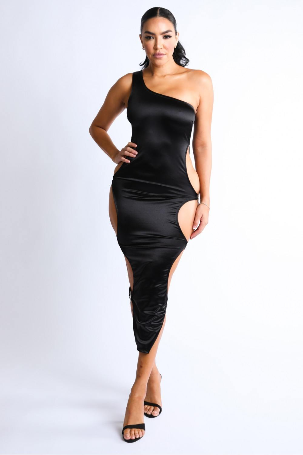Side Cutout Sexy Knit Satin Maxi Dress