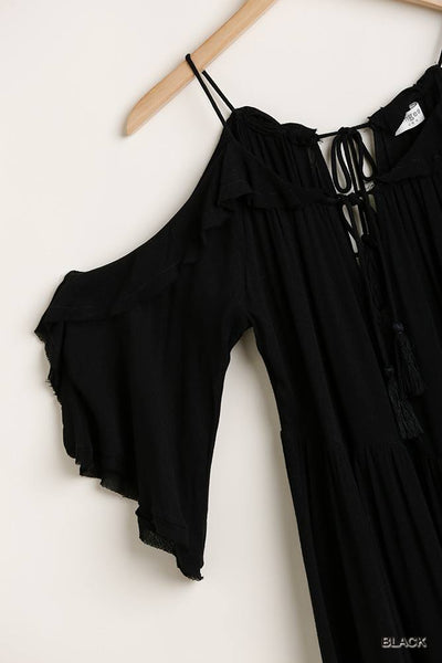 Ruffled Cold Shoulder Maxi Dress With Front Tassel Tie