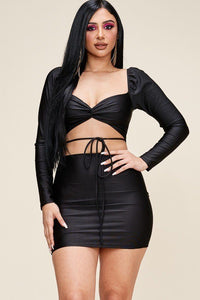 Solid Long Sleeve Mini Dress With Twisted Front And Waist Tie