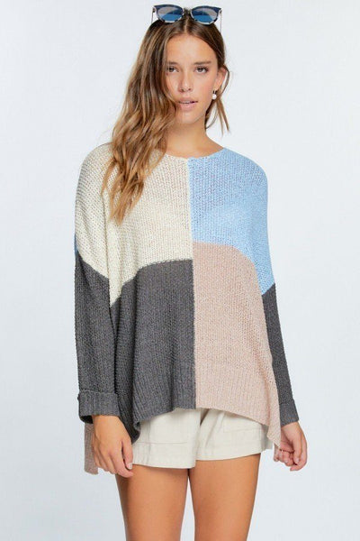 Colorblock Cozy Thick Knit Oversize Sweater