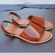 Load image into Gallery viewer, Handcrafted Genuine Leather sandals, Made in full-grain Bovine uppers  Lined with breathable Napa leather lining & are 3mm latex padding on footbed wrapped  Proudly made in south Africa , Orange leather sandals.