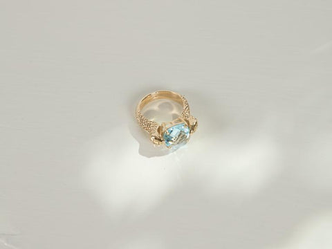Serpent Cocktail Ring | 9k Gold | Topaz - Charlotte Penman Jewellery