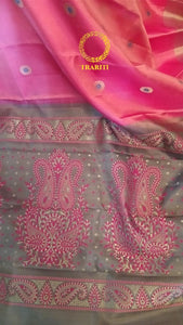 Powder pink kanjeevaram with gray pallu