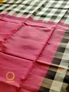 Rose pink  soft silk saree with black and white checks