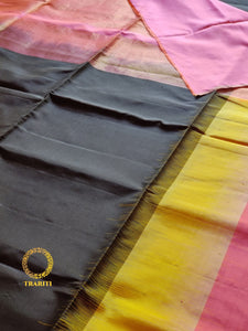 Black  soft silk saree with lime yellow and pink border