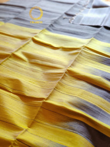 Yellow and gray stripes silk blended with khadi soft silk saree