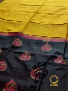 Yellow silk with black pallu with pink thread work embroidery