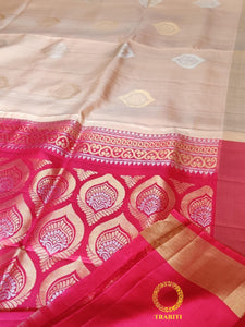 Oat beige silk with stunning bright pink and heavy thread work