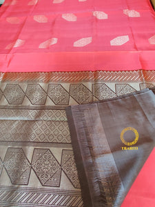 Rouge pink silk with gray silver thread work pallu