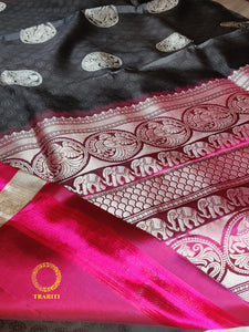 Black self embroidery with magenta pallu with silver animal thread work