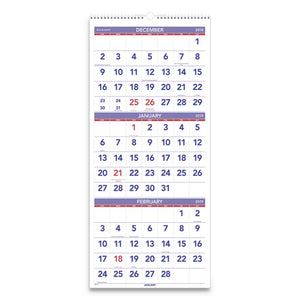 ESAAGPM1128 - VERTICAL-FORMAT THREE-MONTH REFERENCE WALL CALENDAR, 12 X 27, 2019