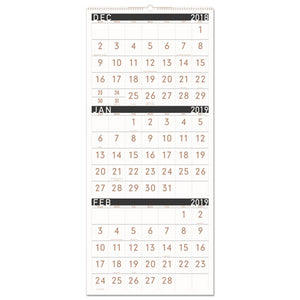 ESAAGPM11X28 - CONTEMPORARY THREE-MONTHLY REFERENCE WALL CALENDAR, 12 X 27, 2019