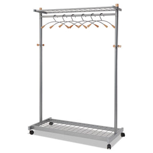 ESABAPMLUX6 - Garment Racks, Two-Sided, 2-Shelf Coat Rack, 6 Hanger-6 Hook, Silver Steel-wood