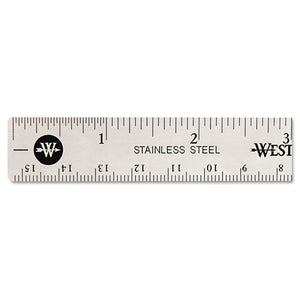ESACM10414 - Stainless Steel Office Ruler With Non Slip Cork Base, 6""