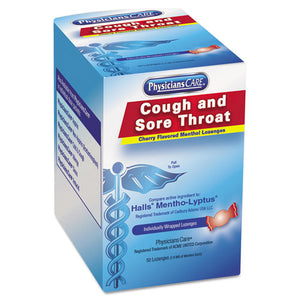 ESACM90306 - Cough And Sore Throat, Cherry Menthol Lozenges, 50 Individually Wrapped Per Box
