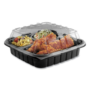 Crisp Foods Technologies Containers, 3-compartment, 9 Oz-6 Oz-6 Oz, 8.46 X 8.46 X 3.16, Clear-black, 180-carton