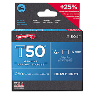 "ESARR504 - T50 Heavy Duty Staples, 1-4"" Leg, 1250-pack"