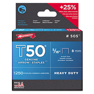 "ESARR505 - T50 Heavy Duty Staples, 5-16"" Leg, 1250-pack"