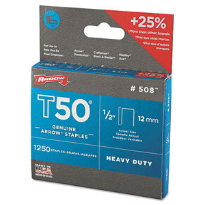 "ESARR50824 - T50 Heavy Duty Staples, 1-2"" Leg, 1250-pack"