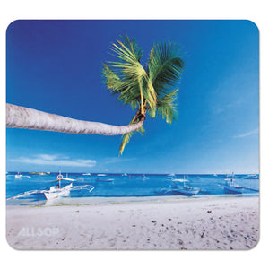 ESASP31621 - Naturesmart Mouse Pad, Outrigger Beach Design, 8 1-2 X 8 X 1-10