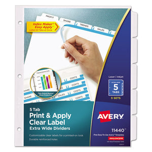 ESAVE11440 - PRINT AND APPLY INDEX MAKER CLEAR LABEL DIVIDERS, 5 WHITE TABS, LETTER, 5 SETS