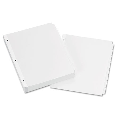 ESAVE11507 - WRITE & ERASE PLAIN-TAB PAPER DIVIDERS, 8-TAB, LETTER, WHITE, 24 SETS