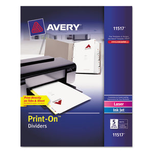 ESAVE11517 - Customizable Print-On Dividers, Letter, 5-Tabs-set, 25 Sets-pack