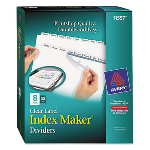 ESAVE11557 - PRINT AND APPLY INDEX MAKER CLEAR LABEL DIVIDERS, 8 WHITE TABS, LETTER, 50 SETS