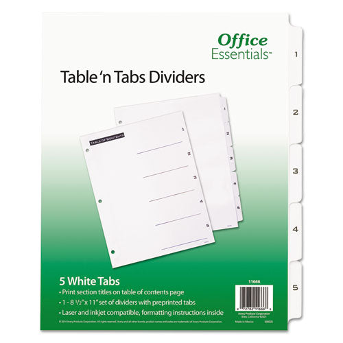 ESAVE11666 - Table 'n Tabs Dividers, 5-Tab, Letter