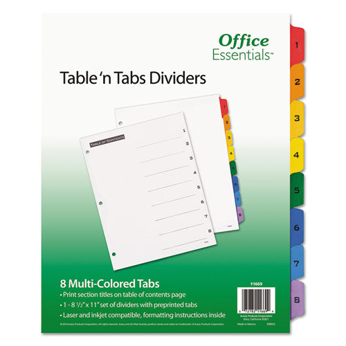 ESAVE11669 - Table 'n Tabs Dividers, 8-Tab, Letter
