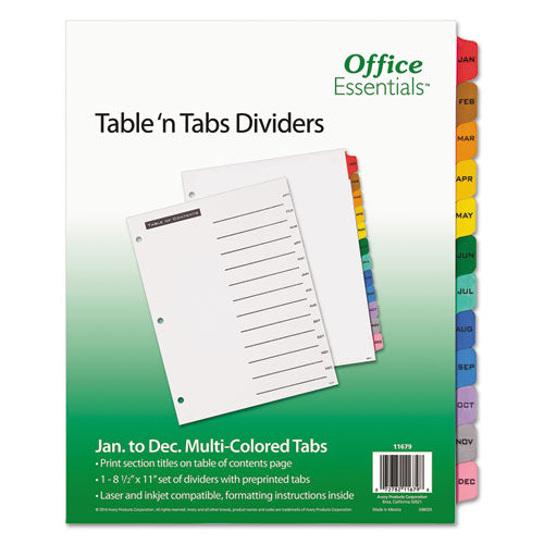 ESAVE11679 - Table 'n Tabs Dividers, 12-Tab, Letter