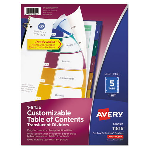 ESAVE11816 - CUSTOMIZABLE TOC READY INDEX PLASTIC MULTICOLOR DIVIDERS, 5-TAB, LETTER