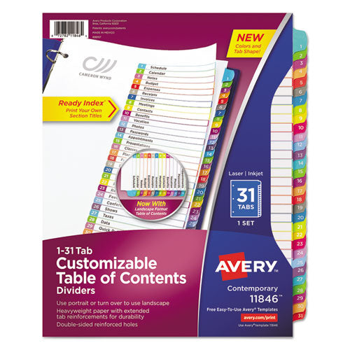 ESAVE11846 - CUSTOMIZABLE TOC READY INDEX MULTICOLOR DIVIDERS, 1-31, LETTER