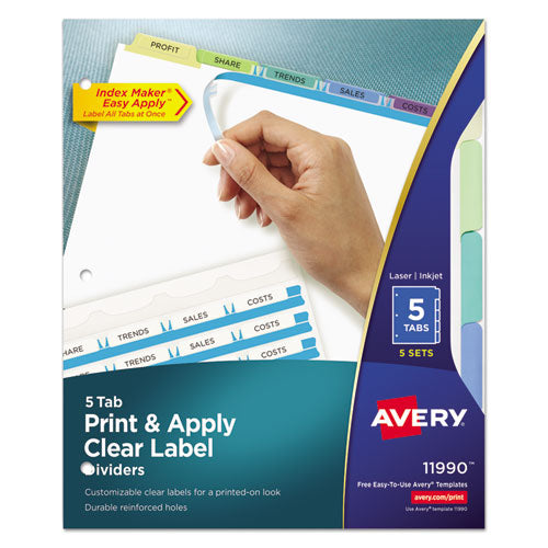 ESAVE11990 - PRINT AND APPLY INDEX MAKER CLEAR LABEL DIVIDERS, 5 COLOR TABS, LETTER, 5 SETS
