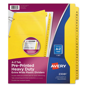 "ESAVE23081 - Preprinted Plastic Tab Dividers, Side Tab, Printed ""a-Z"", 9 X 11, Yellow"